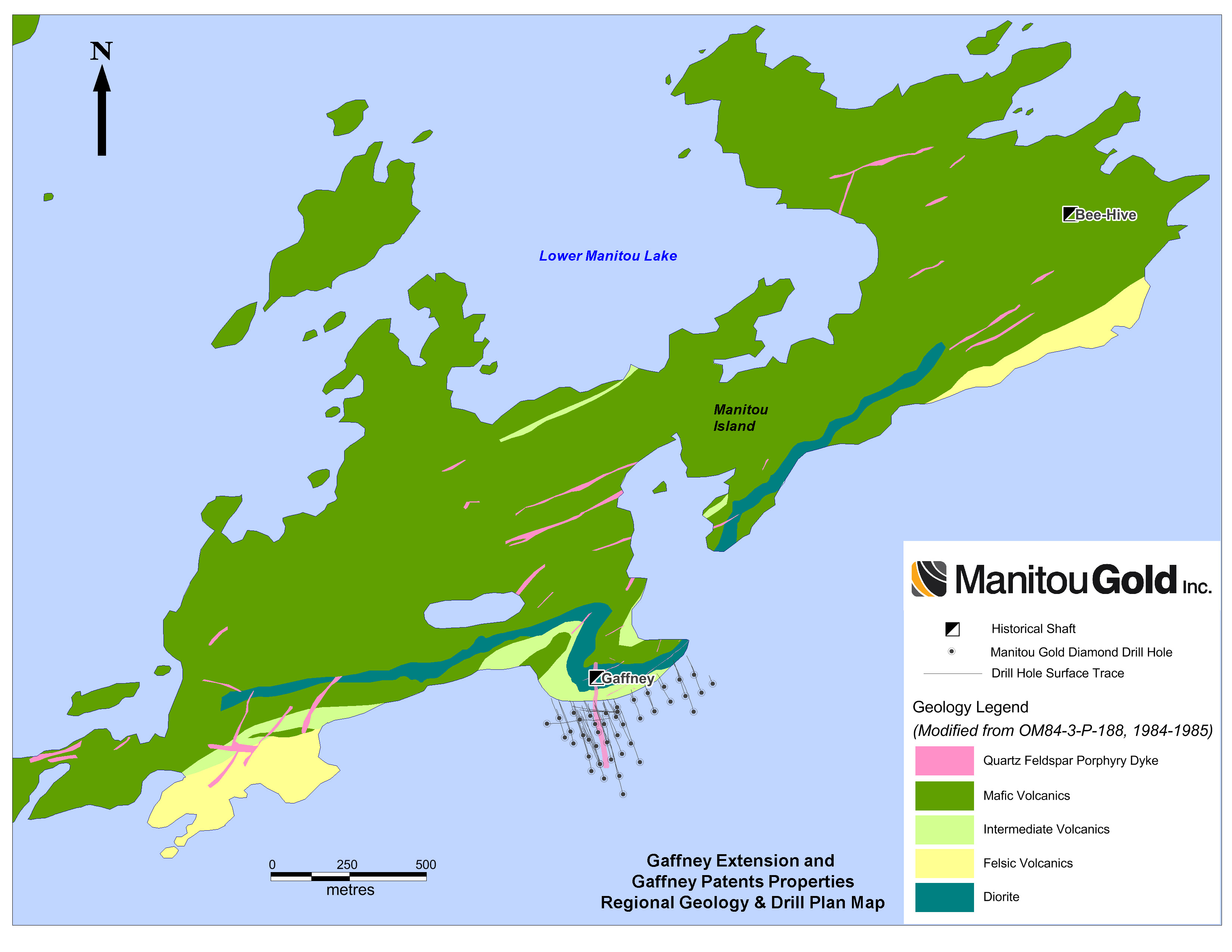 Maps manitou gold inc regional geology and drill plan map gumiabroncs Gallery
